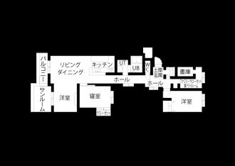 リフォーム後の図面・間取り図。札幌に移住するため、中古マンションを購入しリノベーション。ツーウェイの広い玄関、リビング続きの広いサンルーム。新築にはない味わい。洗面はサブウェイスタイルのタイルに床・カウンター天板・天井は無機質なイメージ。キッチンの背面収納は、ストウブ鍋を置いたときの使い勝手と見た目のバランスを考えて造作。娘の部屋はピンクの壁紙にクリア塗装の無垢フローリング。施工は北王リライフ
