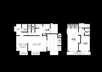 リフォーム前の図面・間取り。札幌の高断熱・高気密化のリノベーションにより長期優良住宅先導モデルとして認められた、住宅の外気温に左右されない安定した室内環境を体感できるモデルハウス。パイン材の床に塗り壁とエコカラットの質感のあるアクセントウオール。アールデザインの玄関土間。市松に敷かれた琉球畳がおしゃれな和室。下は大容量の収納。レンジ横や出入り口の柱などにはアクセントにタイルを部分張り。施工はリビングワーク。