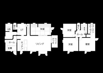 リフォーム後の図面・間取り図。札幌の高断熱・高気密化のリノベーションにより長期優良住宅先導モデルとして認められた、住宅の外気温に左右されない安定した室内環境を体感できるモデルハウス。パイン材の床に塗り壁とエコカラットの質感のあるアクセントウオール。アールデザインの玄関土間。市松に敷かれた琉球畳がおしゃれな和室。下は大容量の収納。レンジ横や出入り口の柱などにはアクセントにタイルを部分張り。施工はリビングワーク。