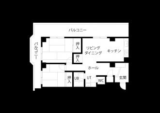 リフォーム前図面・間取り図。札幌の中古リノベーションマンションの事例を紹介。マンションを購入し、SAWAI建築工房にリノベーションを依頼。収納や動線にも細やかな配慮が行き届いたプラン。L字型キッチン、2方向から光が入るLDK、工夫で専有面積以上の広さ。内窓は遮音性にも優れた断熱サッシ。交通量が多くても、静かな住まい。