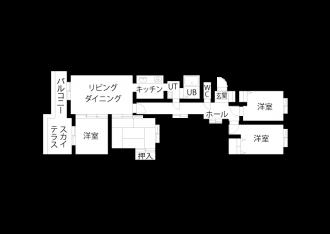 リフォーム前の図面・間取り図。札幌に移住するため、中古マンションを購入しリノベーション。ツーウェイの広い玄関、リビング続きの広いサンルーム。新築にはない味わい。洗面はサブウェイスタイルのタイルに床・カウンター天板・天井は無機質なイメージ。キッチンの背面収納は、ストウブ鍋を置いたときの使い勝手と見た目のバランスを考えて造作。娘の部屋はピンクの壁紙にクリア塗装の無垢フローリング。施工は北王リライフ