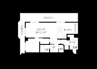 リフォーム後図面・間取り図。札幌の中古リノベーションマンションの事例を紹介。マンションを購入し、SAWAI建築工房にリノベーションを依頼。収納や動線にも細やかな配慮が行き届いたプラン。L字型キッチン、2方向から光が入るLDK、工夫で専有面積以上の広さ。内窓は遮音性にも優れた断熱サッシ。交通量が多くても、静かな住まい。