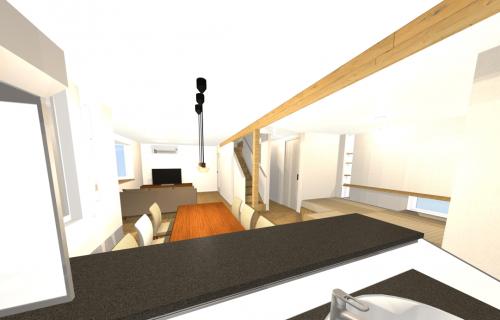 50代夫婦と子供2人の4人家族が暮らす家をシンプルモダンにリノベーションしたオープンハウス。施工はRRスタジオ。場所は札幌市手稲区。