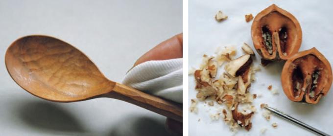 胡桃で木製品をメンテナンス