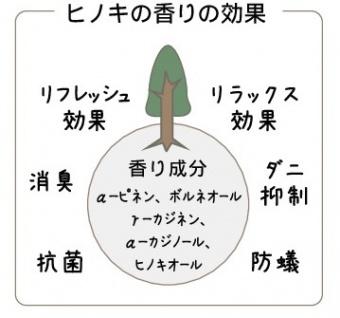 ヒノキの香りの効果:リラックス効果・リフレッシュ効果・消臭・抗菌・防蟻・ダニ抑制